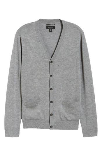 Nordstrom Shop Merino V-Neck Cardigan, Grey