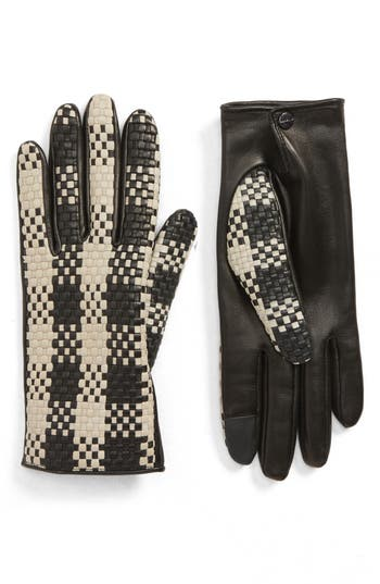 Agnelle Woven Lambskin Leather Gloves - Black