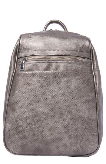 Dream On Vegan Leather Backpack - Metallic, Dark Silver