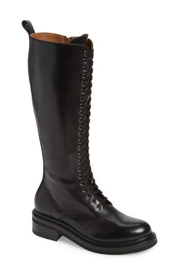 Alice Knee High Combat Boot, Black Leather