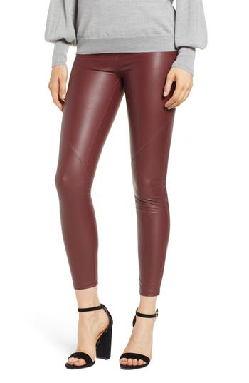 David Lerner The Bergen Faux Leather Leggings, Burgundy