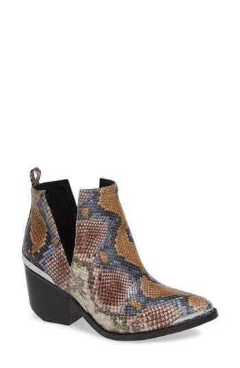Cromwell Cutout Western Boot, Grey/ Wine Snake Print Leather