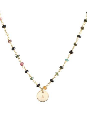 Women's Nashelle 14K-Gold Fill Mini Initial Disc Tourmaline Chain Necklace