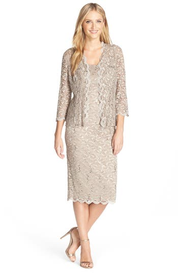 Vintage Evening Dresses and Formal Evening Gowns Womens Alex Evenings Lace Dress  Jacket $179.00 AT vintagedancer.com