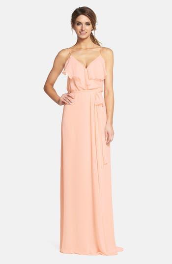 Women's Nouvelle Amsale 'Drew' Ruffle Front Chiffon Gown, Size XX-Large - Beige