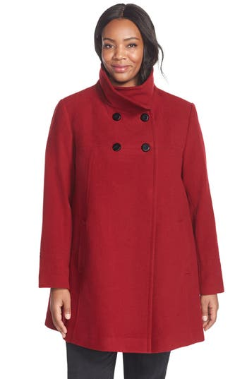 Plus Size Larry Levine Wool Blend A-Line Babydoll Coat, Red
