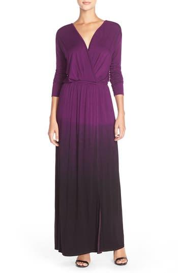 Women's Fraiche By J Tie Dye Faux Wrap Maxi Dress, Size Medium - Purple