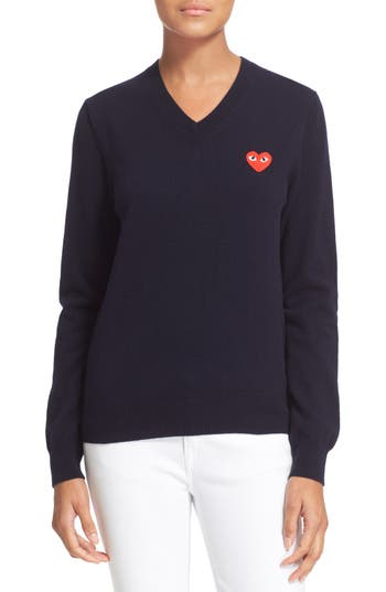 Women's Comme Des Garcons 'Play' Wool V-Neck Pullover, Size Large - Blue