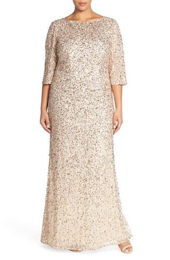 Plus Size Vintage Dresses, Plus Size Retro Dresses Adrianna Papell Embellished Scoop Back Gown Size 24W - Metallic $369.00 AT vintagedancer.com