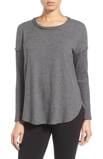 Petite Women's Bobeau Rib Long Sleeve Fuzzy Sweatshirt, Size XX-Small P - Grey