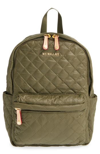 Mz Wallace 'Small Metro' Quilted Oxford Nylon Backpack - Green