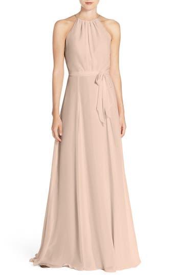 1960s Style Formal Dresses Womens Amsale Delaney Belted A-Line Chiffon Halter Dress Size 12 - Pink $260.00 AT vintagedancer.com