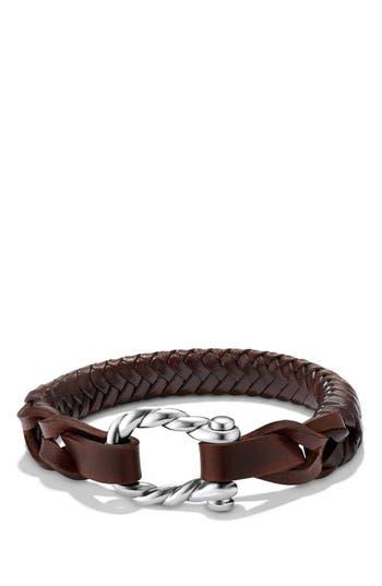 Men's David Yurman 'Maritime' Leather Woven Shackle Bracelet