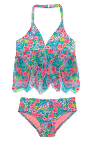 Girl's Hula Star 'Rose Tango' Two-Piece Tankini Swimsuit