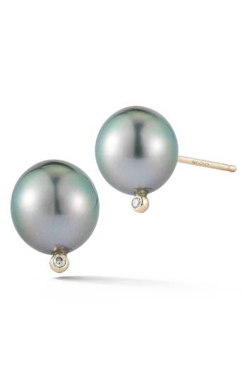 Women's Mizuki Pearl & Diamond Stud Earrings