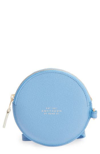 Women's Smythson Circle Leather Coin Purse - Blue