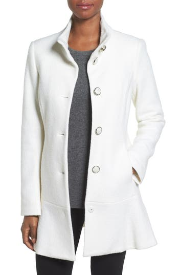 Women's Kensie Single Breasted Ruffle Hem Coat