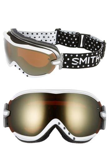 Women's Smith 'Virtue' Snow Goggles - White Dots/ Gold Sol-X Mirror