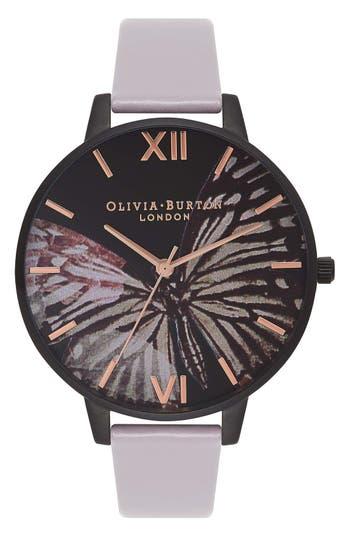 Women's Olivia Burton After Dark Butterfly Leather Strap Watch, 38Mm