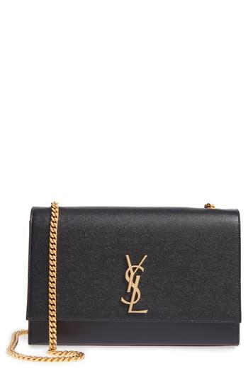 Saint Laurent Large Kate Monogram Leather Shoulder Bag - Black
