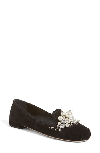 Women's Miu Miu Embellished Loafer, Size 7.5US / 37.5EU - Black