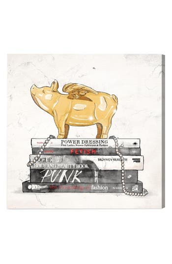 Oliver Gal Flying Pig Books Luxe Canvas Print