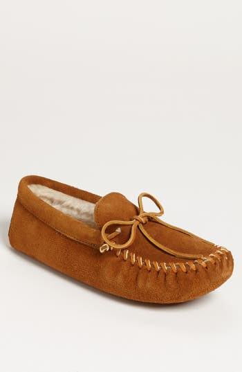 Men's Minnetonka Suede Moccasin With Faux Fur Lining