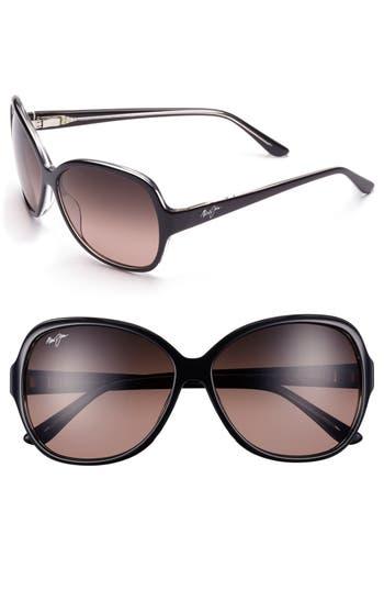 Maui Jim Maile 60Mm Polarizedplus Sunglasses - Black/ Crystal