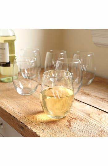 Cathy's Concepts Set Of 6 Monogram Stemless Wine Glasses, Size One Size - White