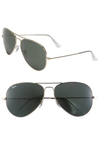 Women's Ray-Ban Large Original 62Mm Aviator Sunglasses - Gold/ Green