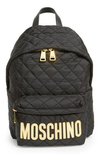 Moschino Quilted Nylon Logo Backpack -