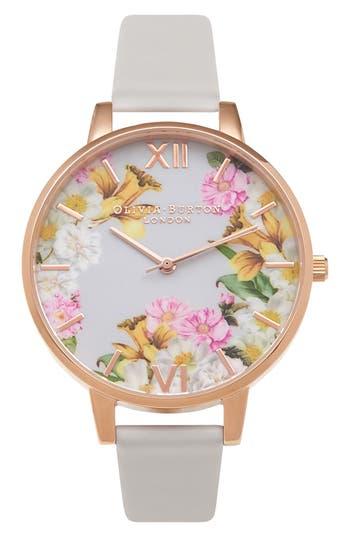 Women's Olivia Burton Flower Show Leather Strap Watch, 38Mm