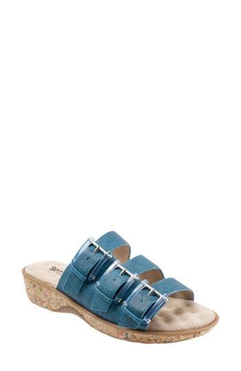 Women's Softwalk Barts Slide Sandal, Size 10.5 N - Blue