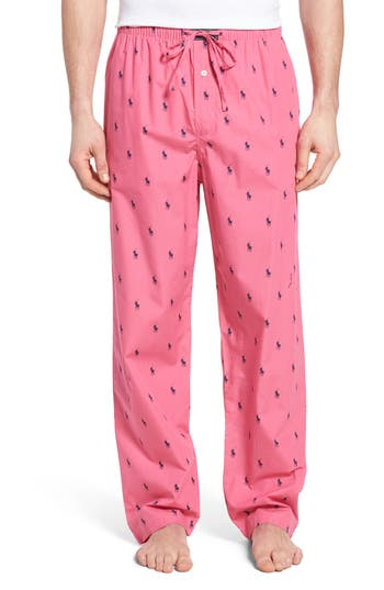 Men's Polo Ralph Lauren Cotton Lounge Pants, Size Medium - Pink