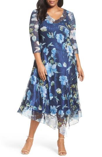 Plus Size Retro Dresses Plus Size Womens Komarov Handkerchief Hem Floral Charmeuse  Chiffon Dress Size 3X - Blue $232.80 AT vintagedancer.com