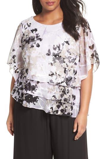 Vintage & Retro Shirts, Halter Tops, Blouses Plus Size Womens Alex Evenings Tiered Chiffon Top Size 3X - White $129.00 AT vintagedancer.com