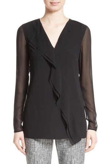 Women's St. John Collection Silk Asymmetrical Ruffle Blouse