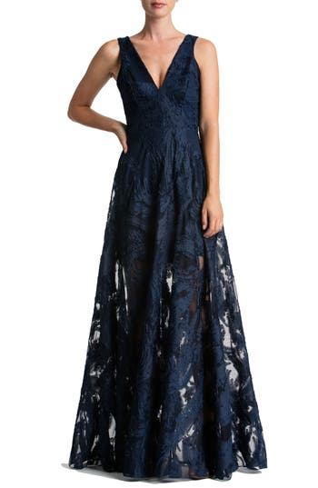 Women's Dress The Population Marlene Plunging Embroidered Mesh Maxi Dress