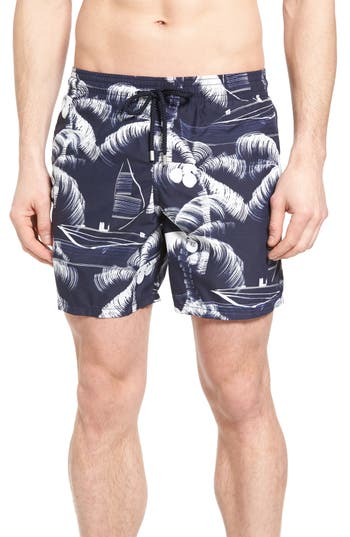 Men's Vilebrequin Palm Trees Print Swim Trunks
