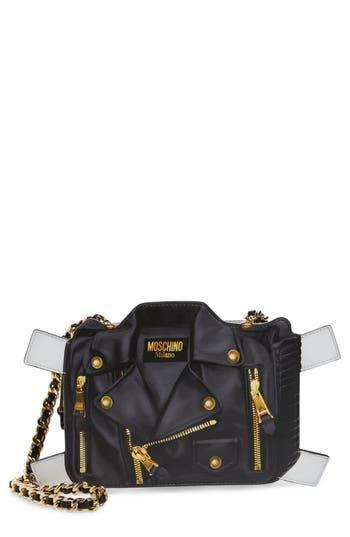 Moschino Paper Doll Biker Leather Shoulder Bag -