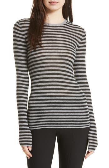 Women's Vince Stripe Cashmere Sweater, Size X-Small - Grey