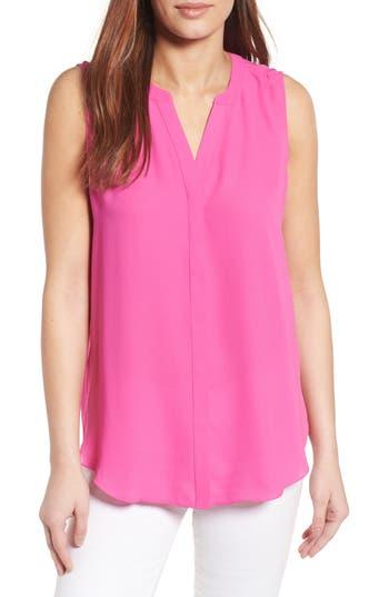 Women's Nydj Print Pleat Back Sleeveless Split Neck Blouse, Size Small - Pink