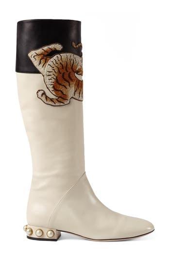 Women's Gucci Imitation Pearl Tiger Applique Riding Boot, Size 6US / 36EU - White