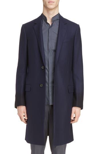 Men's Lanvin Overdyed Sleeve Slim Wool Coat, Size 48 EU - Blue