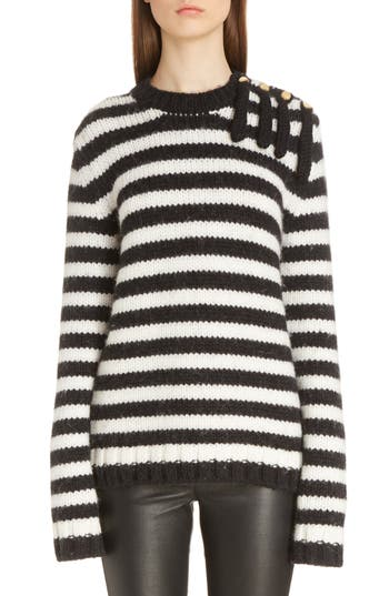 Women's Loewe Stripe Wool & Alpaca Sweater, Size Small - Blue