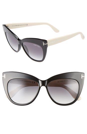 Tom Ford Nika 5m Gradient Cat Eye Sunglasses - Shiny Black/ Gradient Smoke