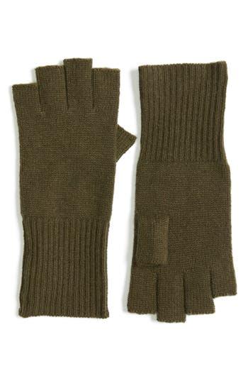 Women's Halogen Cashmere Fingerless Gloves, Size One Size - Green