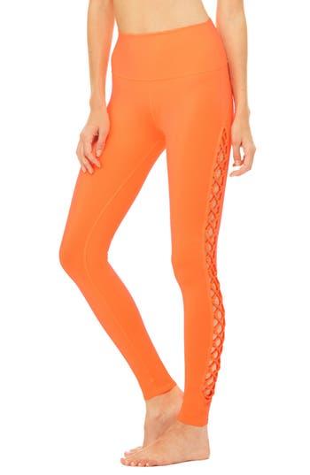 Women's Alo Interlace Leggings, Size Small - Orange