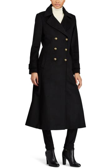 1920s Style Coats Womens Lauren Ralph Lauren Double Breasted Long Coat $360.00 AT vintagedancer.com