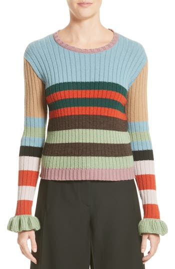 Women's Valentino Stripe Wool Sweater, Size X-Small - Grey